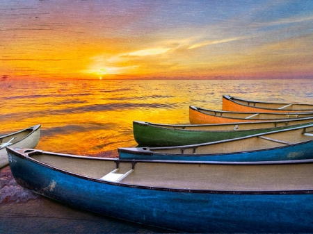 boats, canoe, colorful, gold
