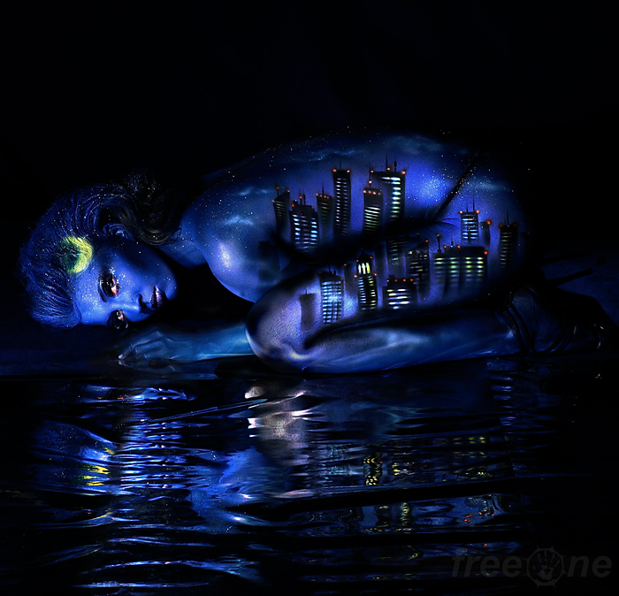 bodyart, woman, water, city, night