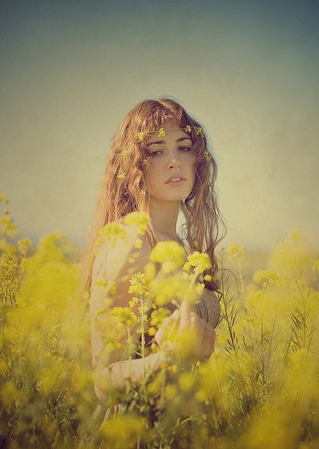 boho, nature, girl, yellow, meadow