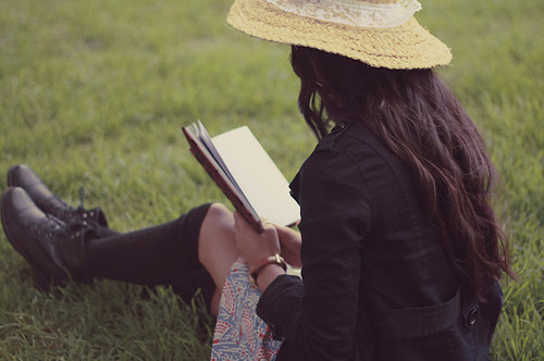 art, beautiful, book, boots, couple, cute, fashion, girl, grass, hair, hat, photography, pretty