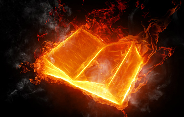 book, fire, flame, languages