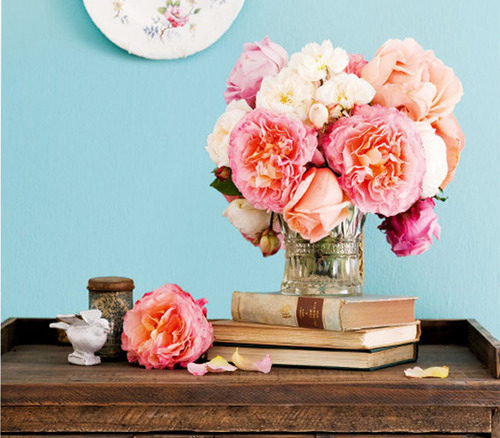 books, floral, flowers, pink, pretty