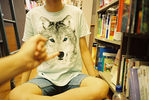art, beautiful, books, couple, cute, fashion, hair, hands, legs, library, photography, pretty, skin, t-shirt