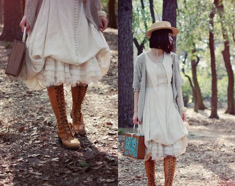 boots, brown, cardigan, cream, dreamy