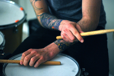 boy, drum, hands, sticks, tattoo