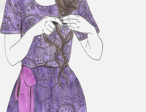 braid, purple, girl, beautiful, frock