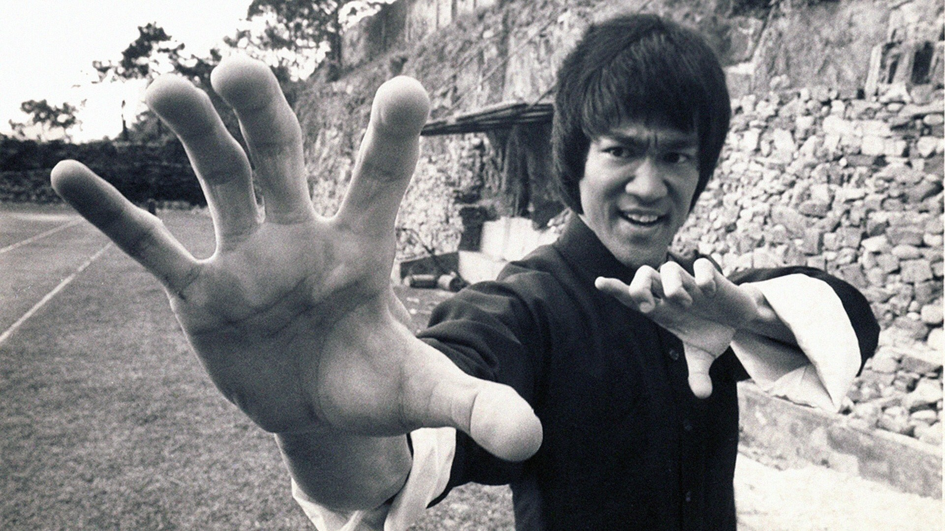 bruce lee, monochrome, men