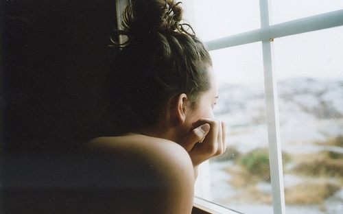 bun, film, girl, hair, photography