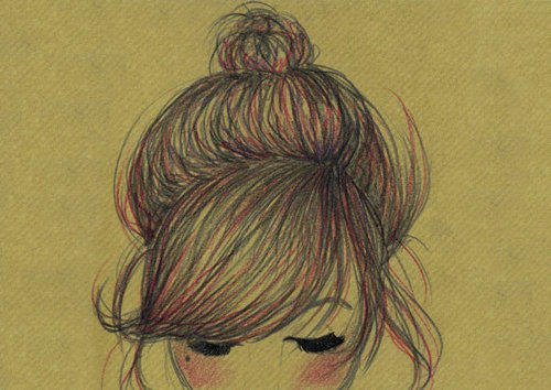 bun, hair, art, illustration, boho