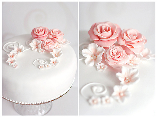 cake, beautiful, design, flowers, white