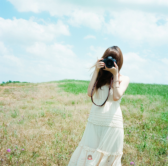 camera, dress, girl, hair, sky