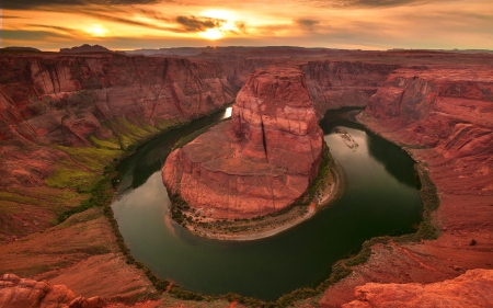 canyon, horseshoe, river, rock