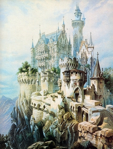 castle, illustration, landmark, architecture, cute