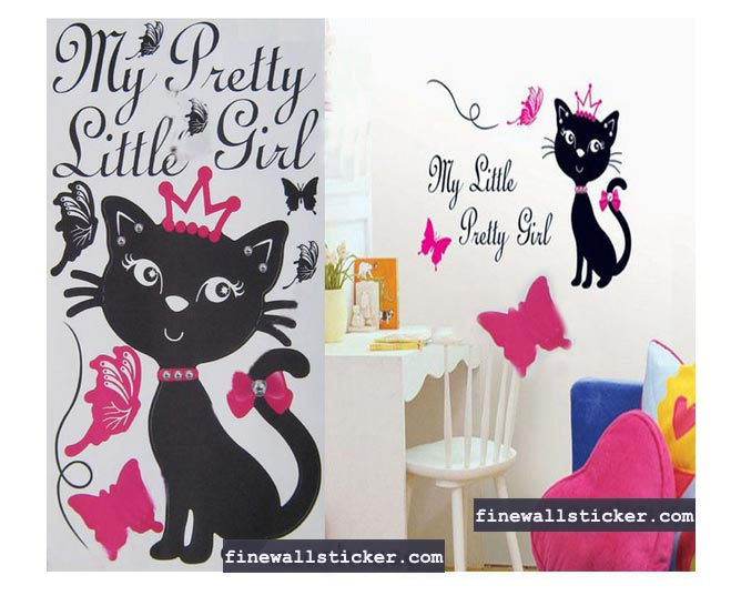 cat and butterfly mural wall decal