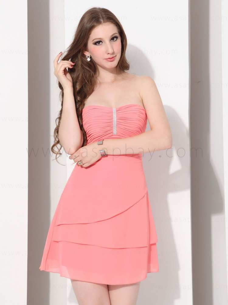 chiffon girl cute adorable strapless knee length cocktail dress