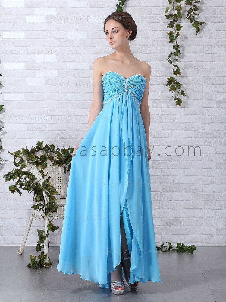 chiffon stunning fantasy beading sweetheart floor length blue a line evening dress
