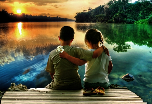 children, couple, love, marina, lake