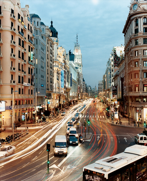 city, gran via, lights, madrid, spain