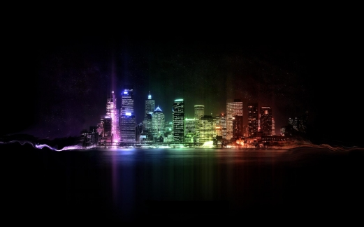 city, night, colorful, lights