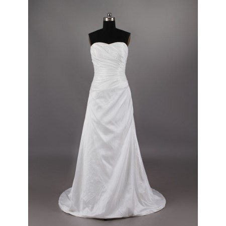 classic unique satin beading pleated a line sweetheart court train white wedding dress