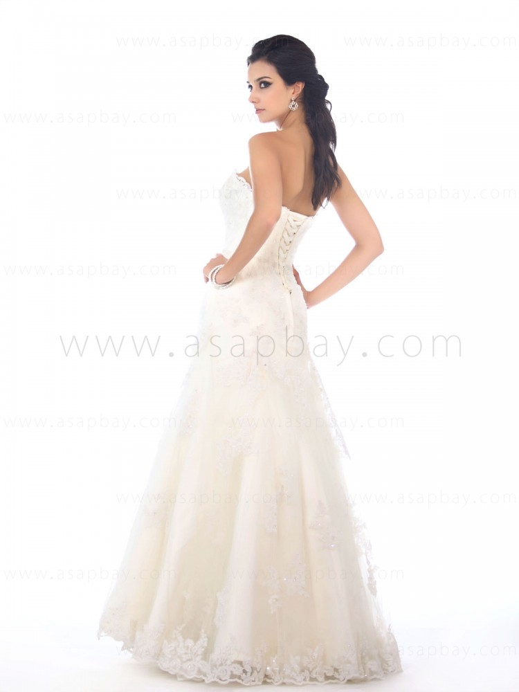classy awesome strapless a-line wedding dress floor length lace beading