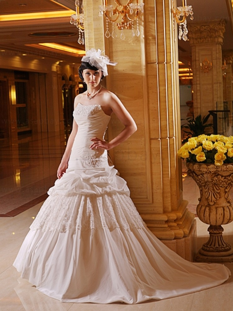 classy dream dress taffeta sweep/brush train strapless champagne trumpet/mermaid wedding dress