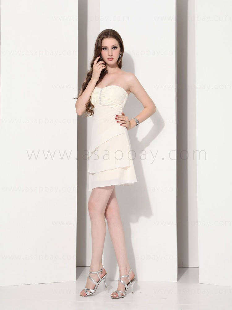 classy dream pretty chiffon strapless knee length cocktail dress