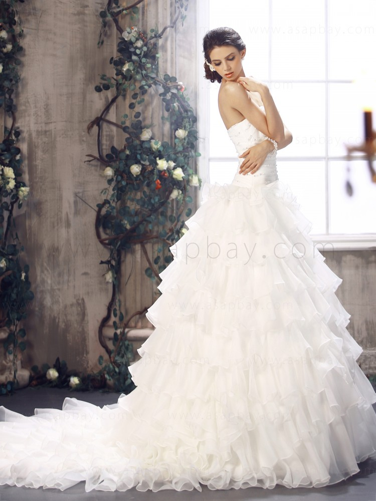 classy tiered strapless ivory chapel train a line wedding dress