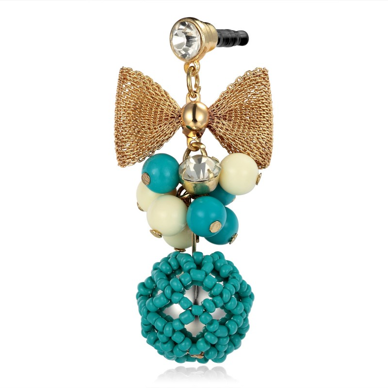 cluster beaded earphone dust plug charm, beaded cluster headphone dust plug stopper, bow 3.5mm   earphone dust plug charm, bowknot headphone dust plug stopper, cluster beads 3.5mm earphone dust plug charm