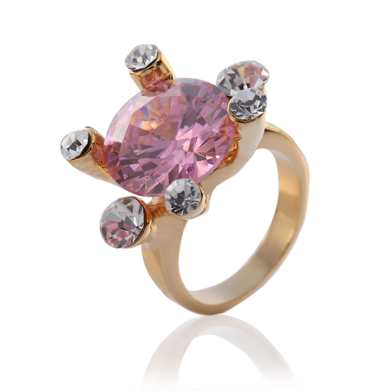 cocktail ring, bling rings, cubic zirconia rings, pink gemstone rings, gold plated rings