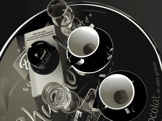 coffee, cup, tray, black and white