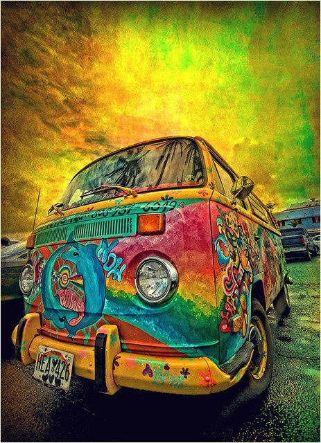 color, hippie, van, boho, bohemian
