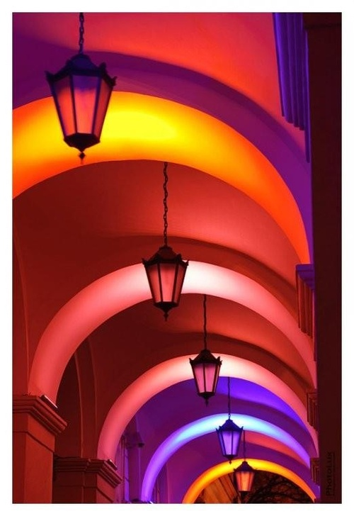 color, rainbow, arches, architecture, photography