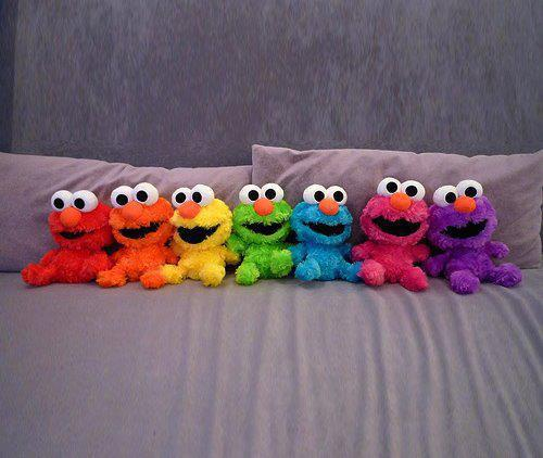 colorful, elmo, rainbow