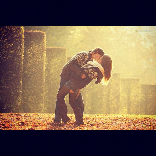 couple, kissing, fall, leaves, sweater