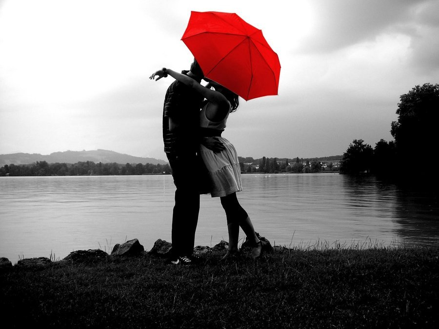 couple, rain, sea, love, cute