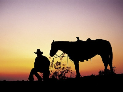 cowboy, sunset, horse