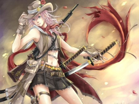 cowgirl, final fantasy, lightning, swords