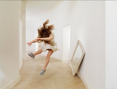 crash, fall, girl, jump, mirror