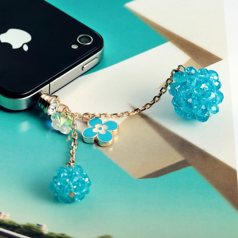 crystal ball headphone dust plug, flower crystal ball headphone dust plug, 3.5mm headphone dust plug, crystal bal earphone dustproof plug, flower crystal ball earphone dustproof plug