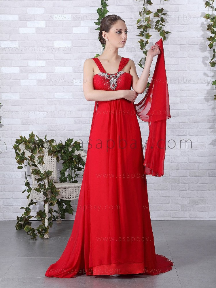 crystal imagine asapbay fashion red court train v neck a line chiffon evening dress