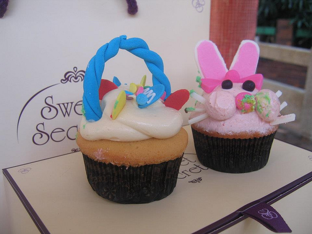cupcake, easter, duck, rabbit