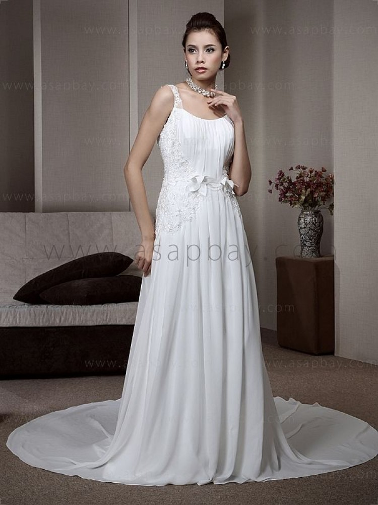 cute adorable amazing appliques chiffon white court train spaghetti strap sheath/column wedding dress