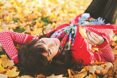 cute, fall, fashion, girl, leaves