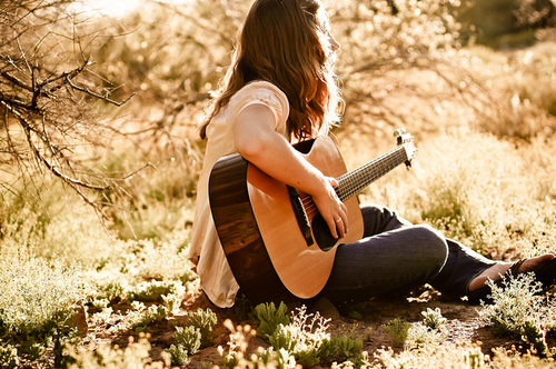 cute, girl, guitar, music, play