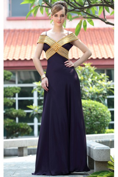 dark purple off-shoulder shot rayon dinner evening dress s658
