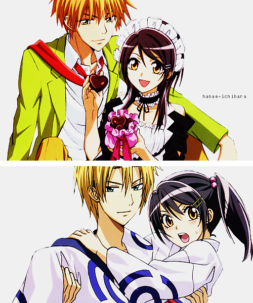 anime, black hair, couple, dark vampire, illustration, kaichou wa maid sama!, love, maid, usui