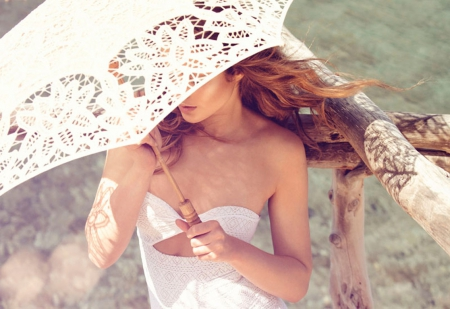 day, suny, umbrella, white, woman