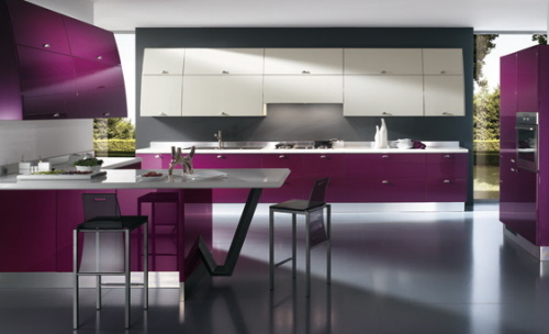 decor, home, interior, kitchen, purple