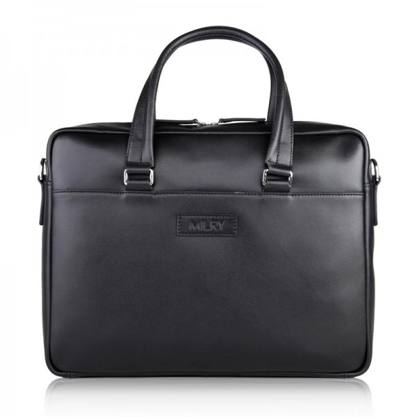discount new black leather briefcase for men